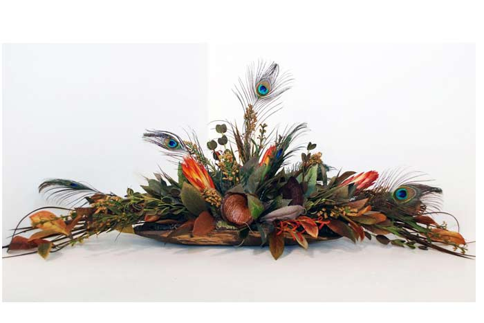 Low Dough Bowl Floral With Peacock Feathers
