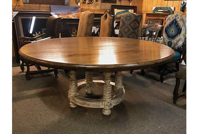 melrose two tone round dining table hat creek interiors hat creek interiors