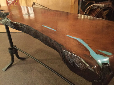 Mesquite and Turquoise Sofa Table W/ Iron Base