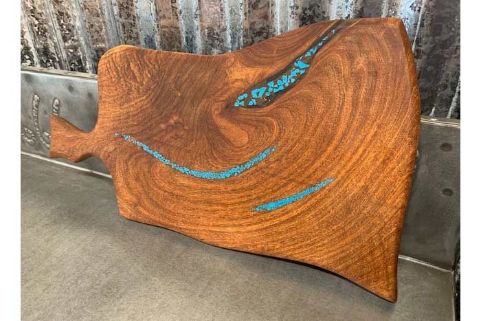 Mesquite Cutting Board With Turquoise Inlay