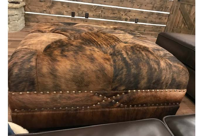 Rustic Cowhide Ottoman