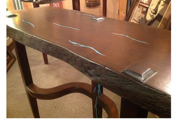 Dark Mesquite Sofa Table W/ Turquoise Inlay
