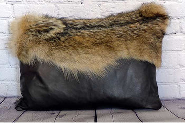 Leather Pillow with Coyote Pelt