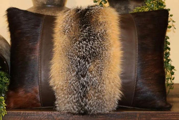 Fox Fur and Cowhide Pillow