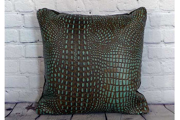 Brown and Turquoise Croc Embossed Pillow