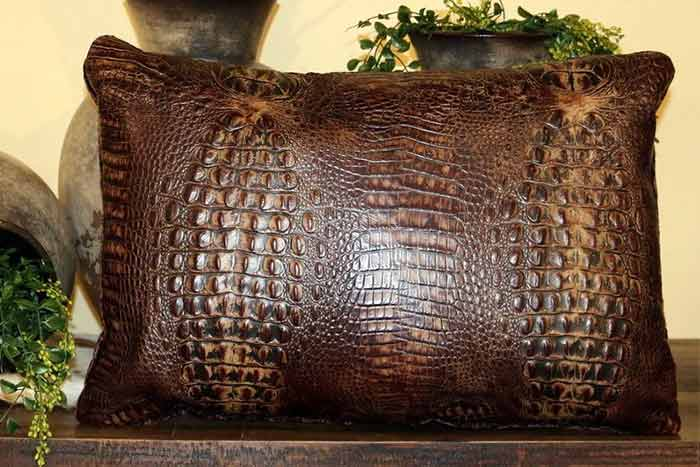 Croc Embossed Leather Pillow