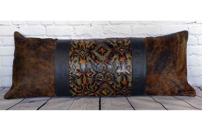 Embossed Leather and Cowhide Body Pillow