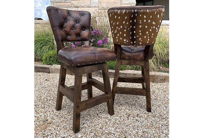 Armless Chisum Tufted Barstool with Axis