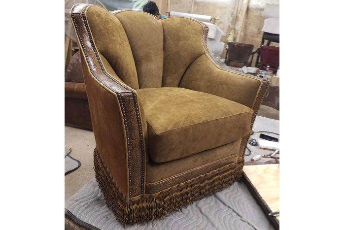 Western Suede Leather Chair
