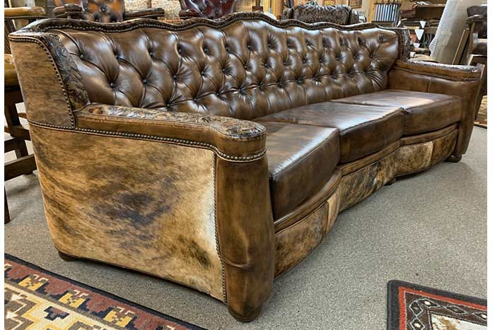 Tucker Tufted Leather Sofa with Cowhide
