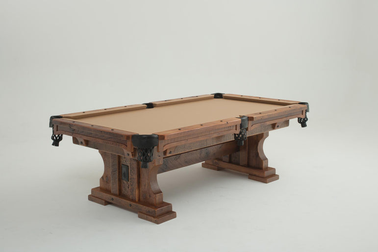 Reclaimed Wood Pool Table With Trestle Base