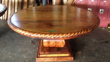 Round Mesquite Dining Table With Rope Edge and Turquoise Inlay