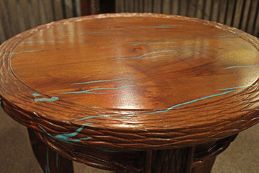 Round Mesquite End Table With Turquoise Inlay