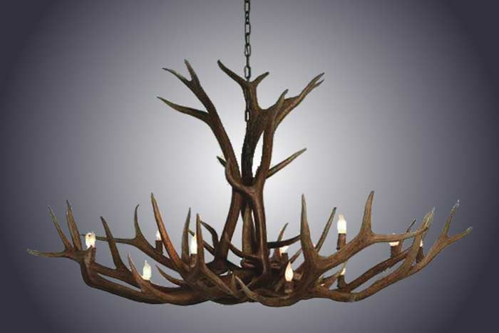 12 Light Single Tier Elk Antler Chandelier