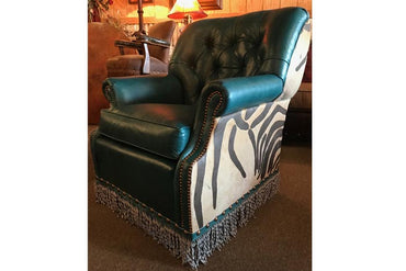 Spence Leather Swivel Glider Chair - Turquoise