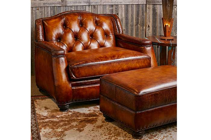 Saddle Burnished Tufted Leather Oversized Chair and Ottoman