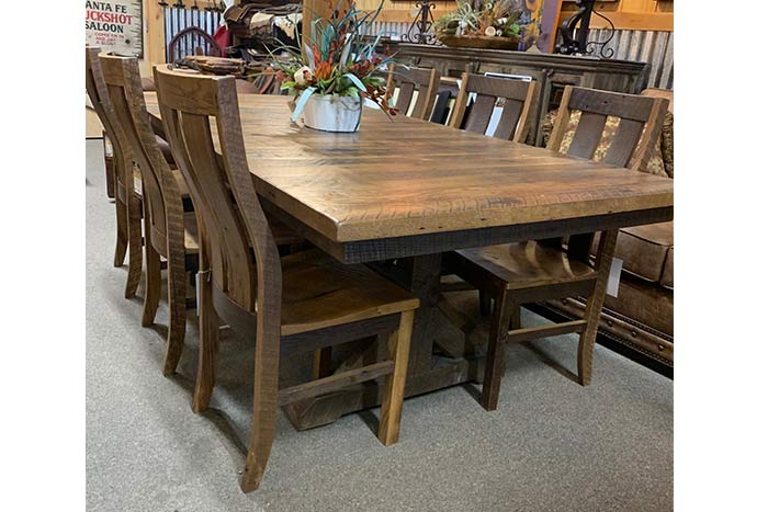 Reclaimed Barnwood Dining Table Chairs Hat Creek Interiors