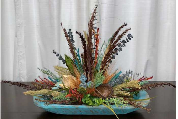 Turquoise Dough Bowl Floral Arrangement