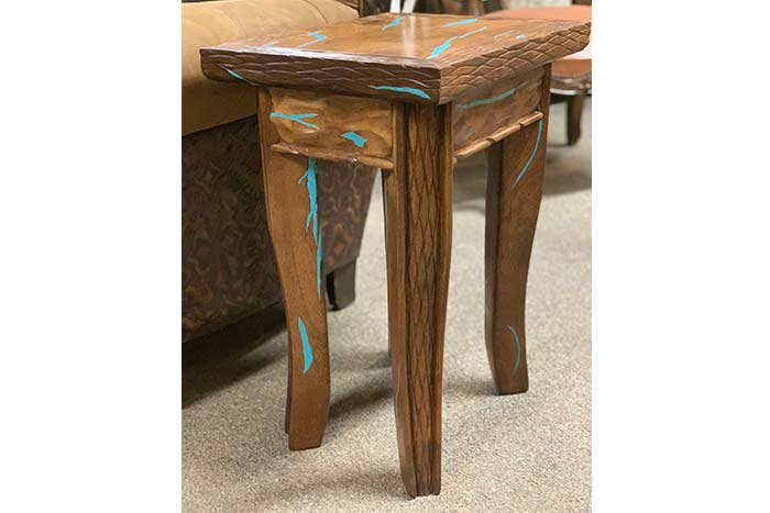 Small Mesquite Side Table With Turquoise Inlay