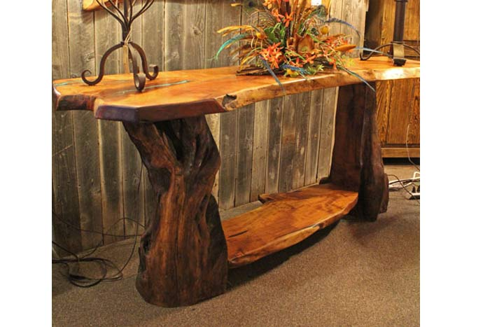 Freeform Mesquite Sofa Table