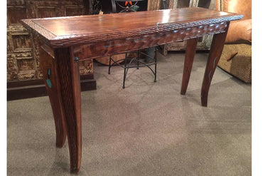 Mesquite Console Table W/ Turquoise Inlay