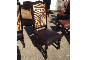Rustic Zebra Cowhide Dining Chair