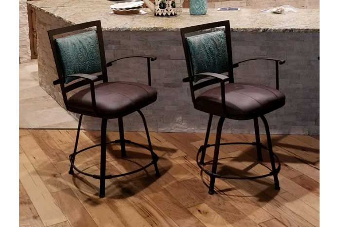 Rustic Leather Bar Stool