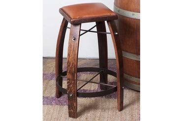 Stave Bar Stool - Leather Seat
