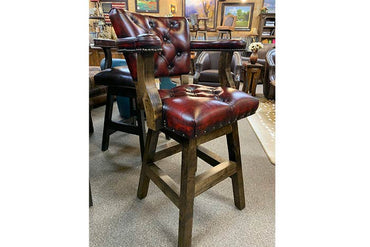 Chisum Barstool with Toro Red Leather