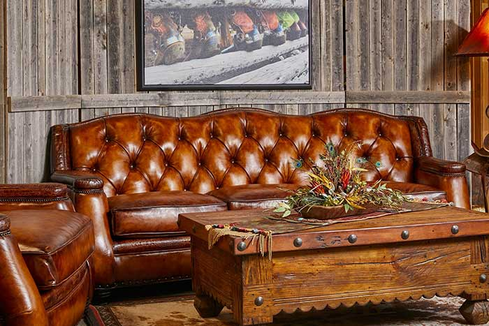 Saddle Burnished Tufted Leather Sofa