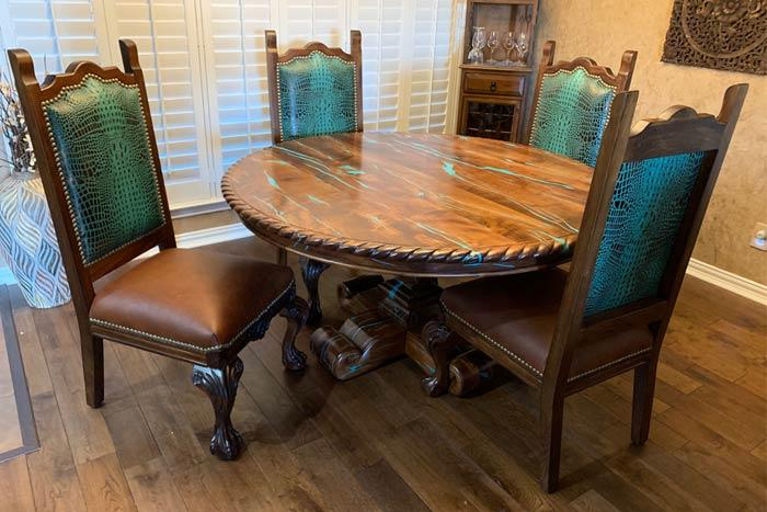 Turquoise Croc Leather Dining Chair