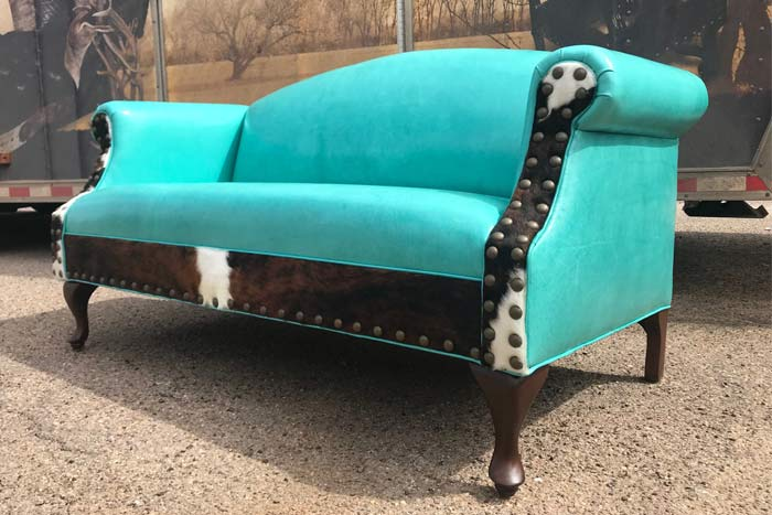 Turquoise Leather Settee