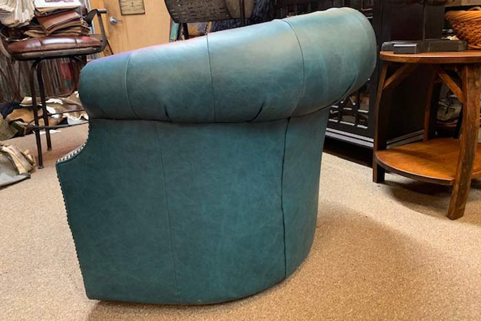 Turquoise Tufted Leather Swivel Chair | Western Barrel ...