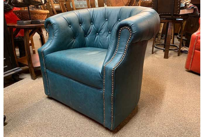 Western Leather Swivel Chair