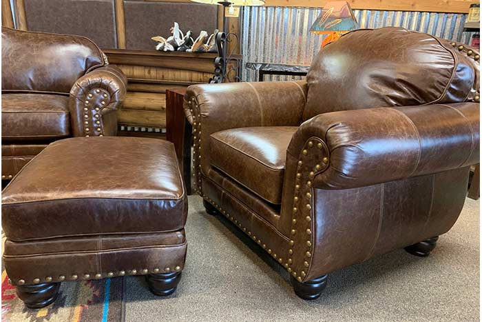 Vacchetta Leather Chair and Ottoman
