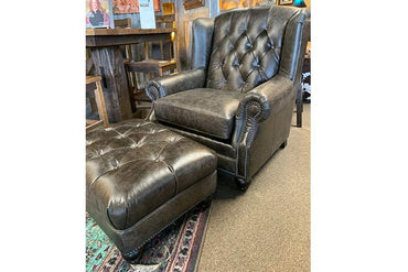 Stone Tufted Leather Chair and Ottoman