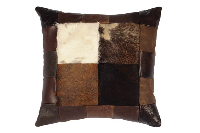 Square Leather and Cowhide Patchwork Pillow