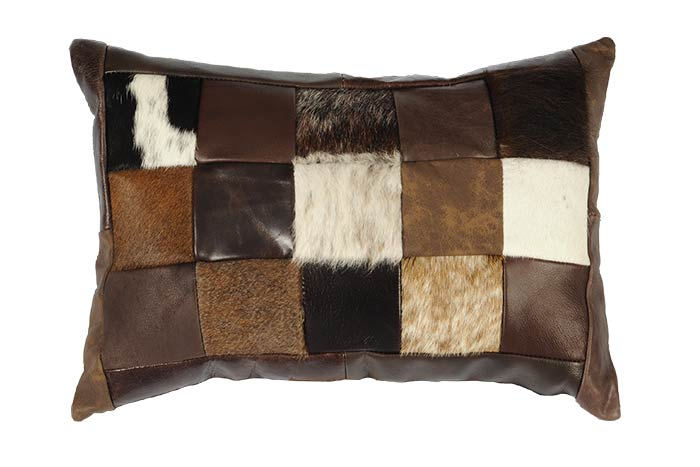 Leather and Cowhide Kidney Patchwork Pillow
