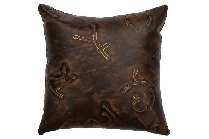 "16"" Brands Leather Pillow"