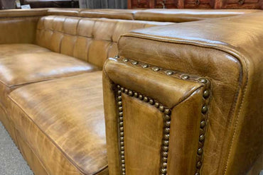 Tufted Burnished Leather Sofa