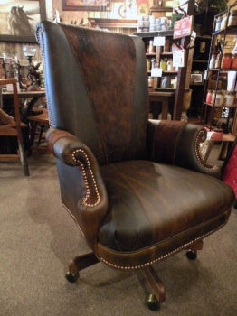 Old Hickory Office Chair w/ Cowhide