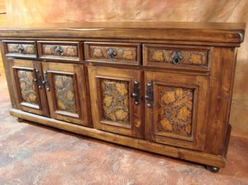 Western Tooled Leather Buffet