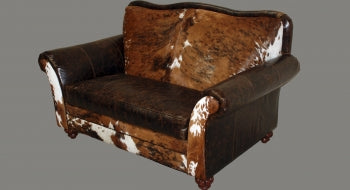 Leather and Cowhide Loveseat