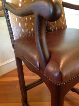 Rustic Leather Barstool