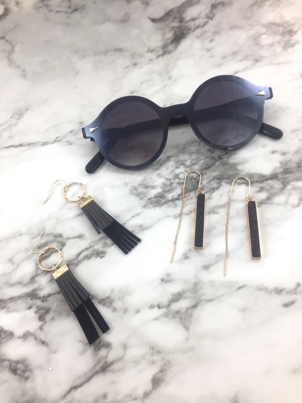 Dark Side of the Moon Sunglasses | Stone & Leather Earrings