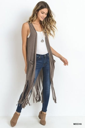 Peace Love & Fringe Vest | Black