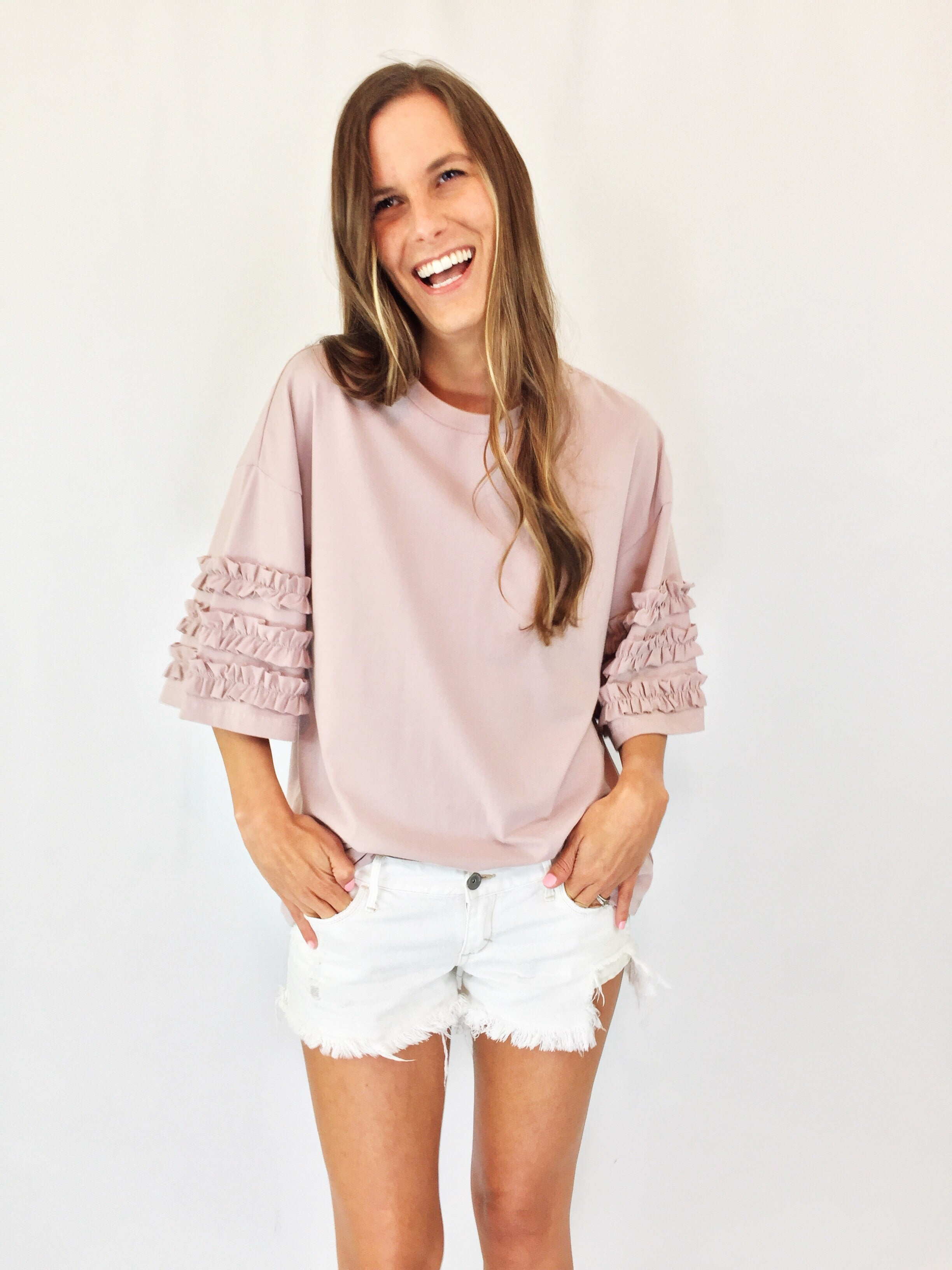 Blush Pink Top with Ruffled Sleeves