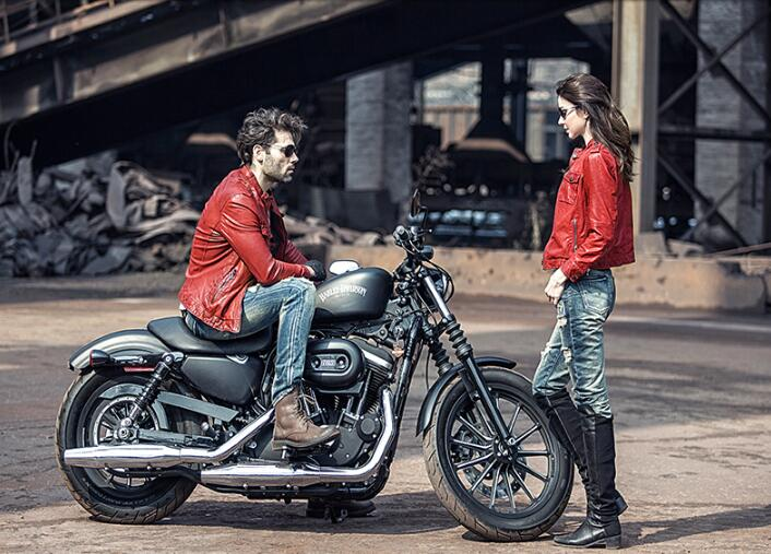 Biker Couple Biker Red Leather Jackets Cool