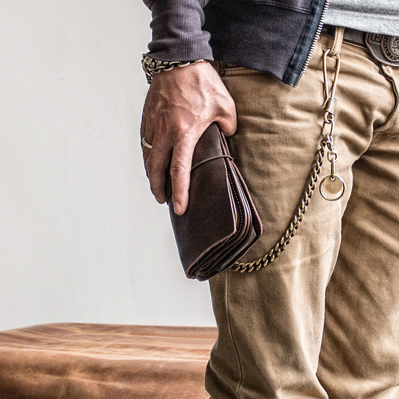 Chain Biker Wallets with Chains Attached