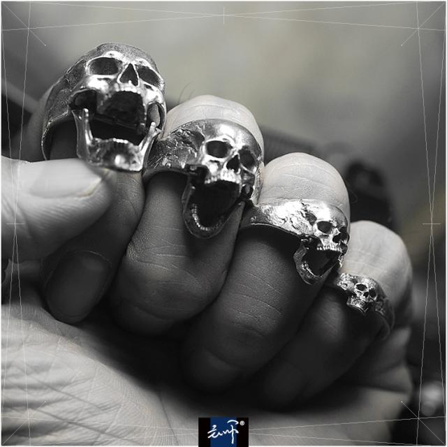Men Biker Skull cool Sliver rings